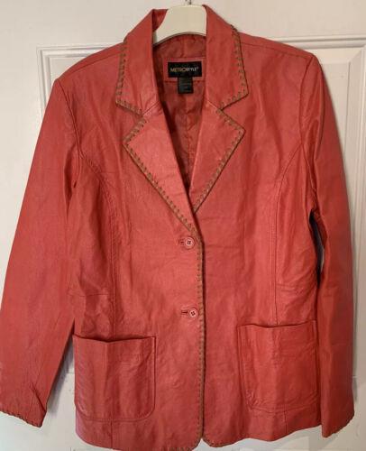 Metro Style Western Style Leather Blazer Whip Stit