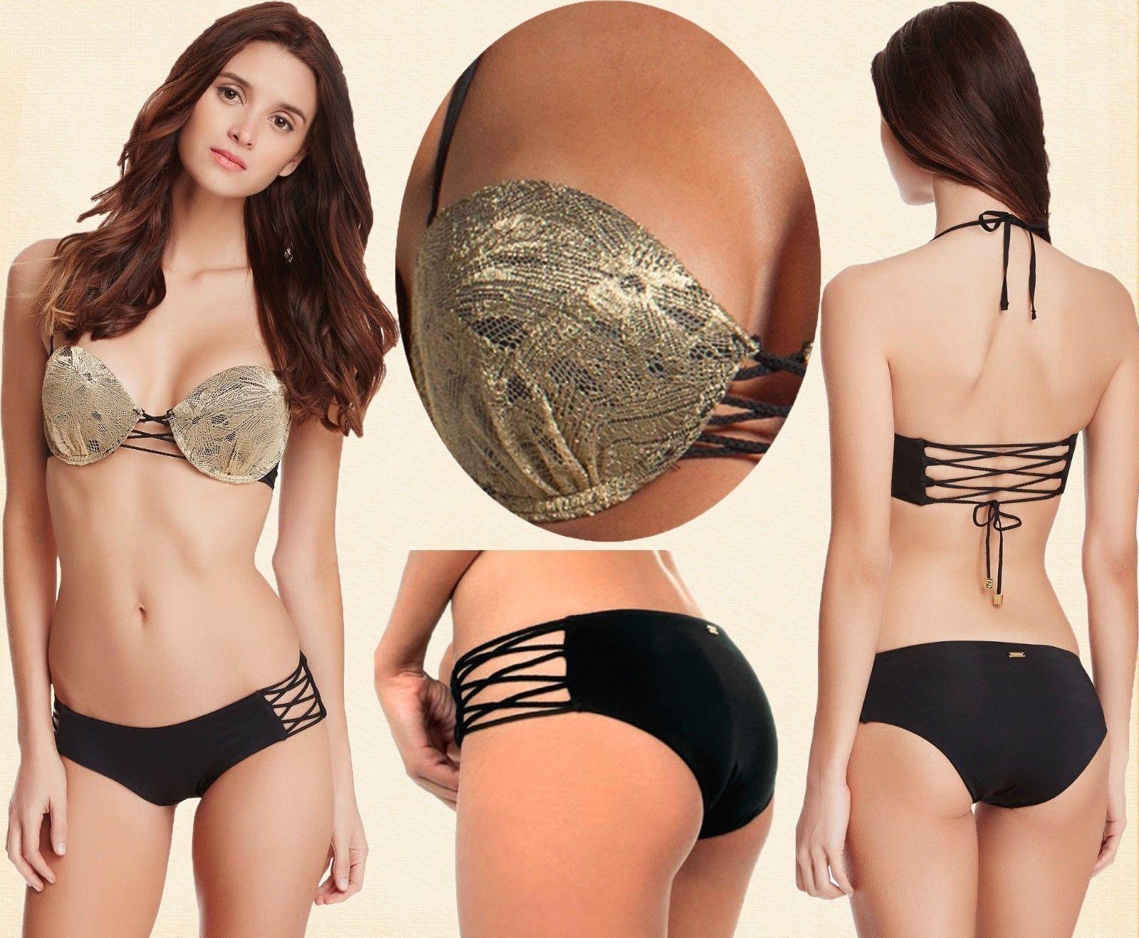 230 Beach Bunny llévame  allí oro Negro prenda inferior de bikini Con Aro Top & con tiras  entrega gratis