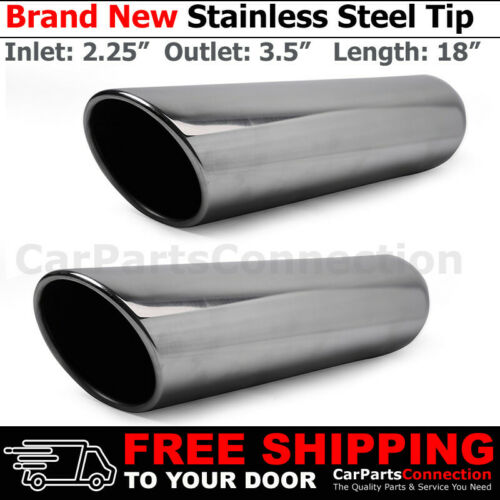 2x Angled Polish 18 inch Weld Exhaust Tip 2.25 In 3.5 Out Stainless Truck 202201