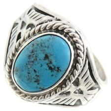 Mens Thunderbird Design Natural Kingman Turquoise Ring Sizes 9 to 13