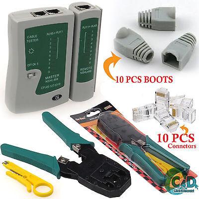 Rj45 Rj11 Cat5e Cat6 Network Lan Cable Tester Crimping Tool Connectors & Boots Hooggeprezen En Gewaardeerd Worden Door Het Consumerende Publiek