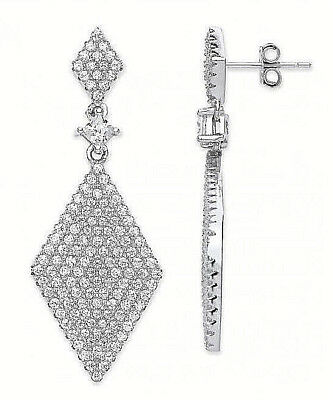 RHODIUM PLATED 925 HALLMARKED SILVER PAVE SET DIAMOND KITE SHAPE DROP EARRINGS