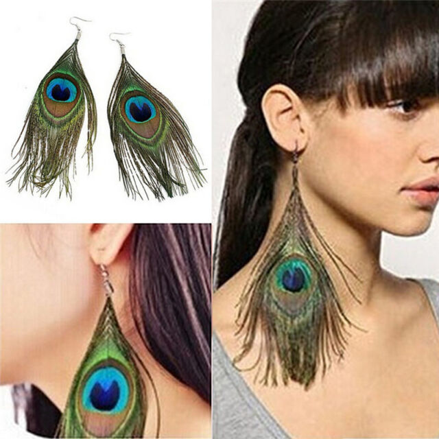 Women CL Style Assorted Color Peacock Natural Feather Earrings Drop Earrin WDC