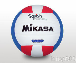 MIKASA-VSV100-Squish-Pillow-Soft-Indoor-Outdoor-Volleyball-White-Red-Blue-Size-5