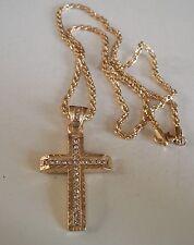 Men's Gold Finish Diamond Cut Style Bling Cross Religious Fashion Pendant/Chain
