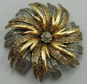 High End Vintage Jewelry Signed Art Flower Brooch Pin