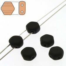 Jet Black Matte 30pc 6mm 2-Hole Czech Glass Honeycomb Beads