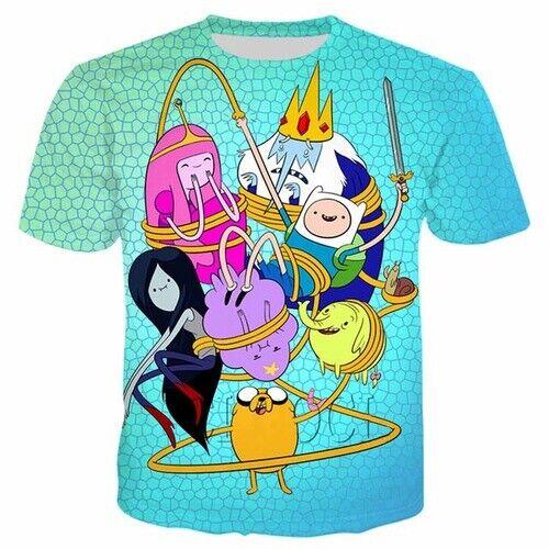 3D Print Anime Adventure Time Tee Women Men T-Shirt Short Sleeve Oversized Tops