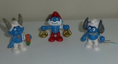 HOROSCOPE Lot de 3 Figurines Schtroumpfs Smurf Schlumpfe Puffi Pitufo NEUF