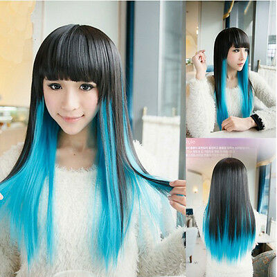 Lolita Harajuku Black+Blue Lady Long Straight Hair Full Wigs Cosplay Party Wig