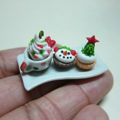Christmas Cupcake and Coffee on Tray Dollhouse Miniatures Food Bakery Deco