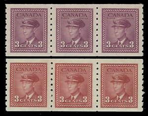 1942/43 Canada Sc#265-66  (2 strips of 3 ) King George VI - VF Mint-NH OG CV-$40