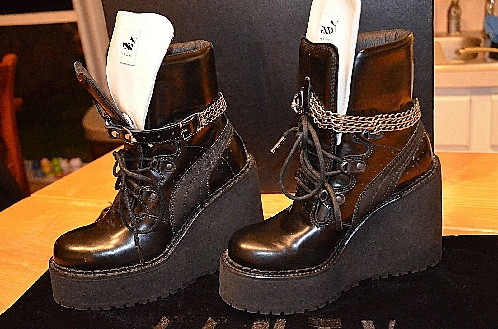 FENTY PUMA by RIHANNA Women SB Wedge black chain Boots Size 7.5 Slides bow  NEW
