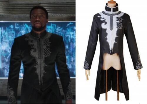 Superhero Black Panther T/'Challa Cosplay Long Jacket Black Swallow-tailed Coat