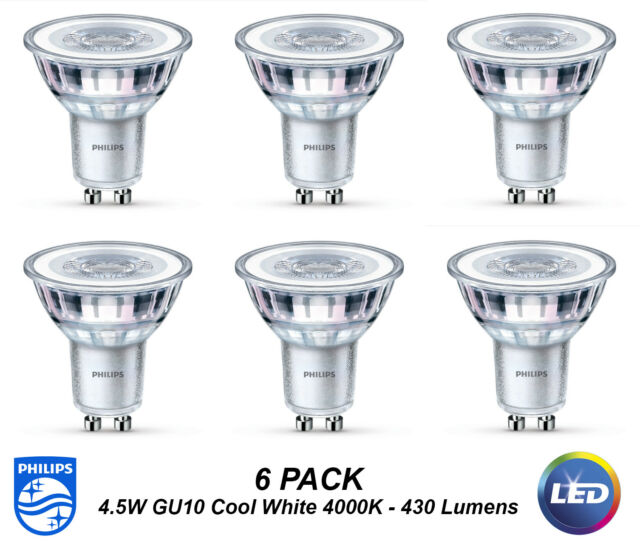 6 x Premium Philips LED Downlight Globes / Bulbs 4.5W 240V GU10 Cool White 4000K