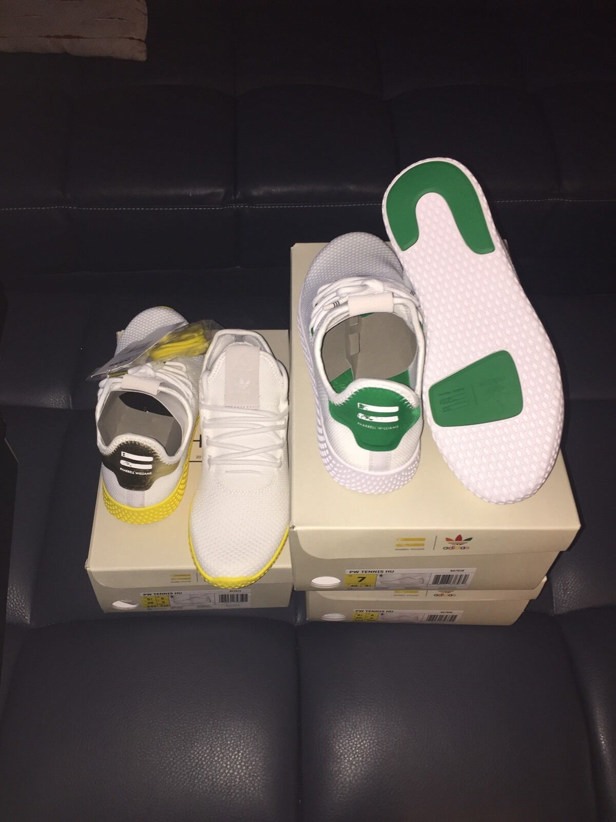 new style 4e3c5 090f0 ADIDAS ORIGINALS X PHARRELL WILLIAMS TENNIS HU HUMAN RACE WHITE YELLOW  BY2674