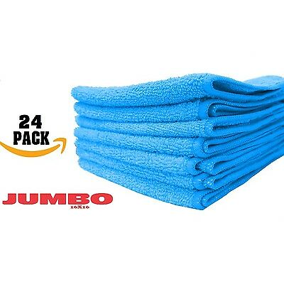 24 LARGE BLUE Microfiber cleaning Cloths Towels Rag Car Polishing Detailing