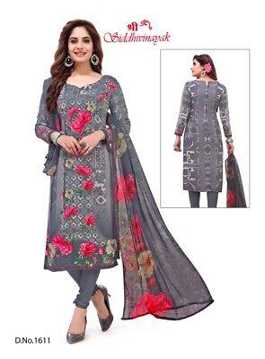 Soft Synthetic Leon Punjabi Salwar Kameez Indian Unstitched Material Crepe Suit