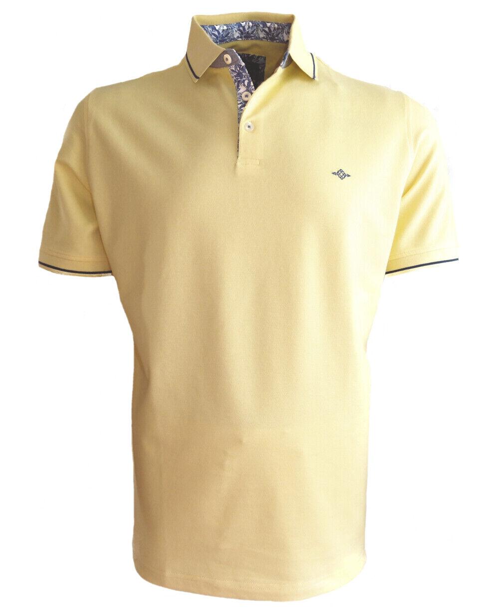 Polo Shirt Baileys Stretch yellow dunkelblue floraler Besatz Gr. M bis 4XL