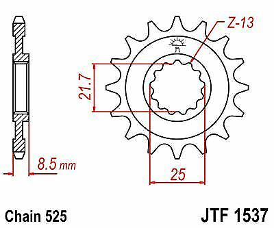 A1-A3,A6F JT 03-06 Front Drive 16t JTF1537 Sprocket fits Kawasaki Z1000