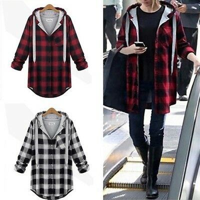 Women Girl Hooded Plaid Jacket Coat Sweatshirt Hooded Outerwear Jumper Pullover