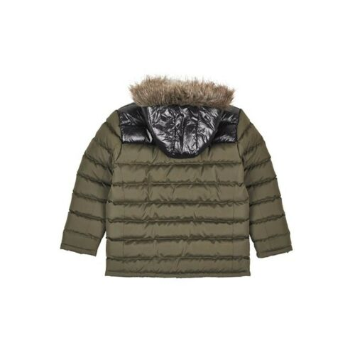 Ages 8 to 12 Outfit Kids Boys Military Green//Black Padded Jacket With Hood
