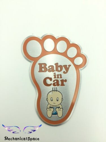 "/""BABY ON BOARD/""/""BABY IN CAR/"" Aluminum Sticker Decal Car Window Bumper US Seller"