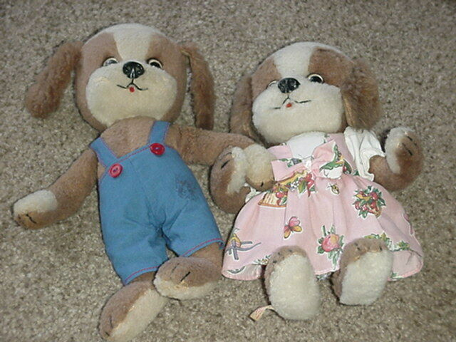 Schuco Vintage BOY & GIRL DRESSED Puppy Dog SET Bigo Bello Dangling Feet