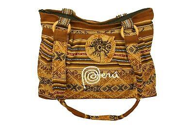 Damen Handtasche Schultertasche Kunstleder Stoff Peru Frauen Tasche Ethno Hippie