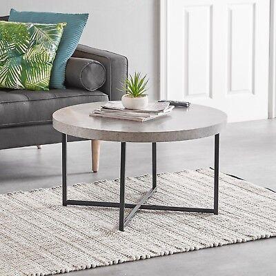 Vonhaus Concrete Look Round Coffee Table Modern Lightweight