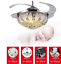 42-Crystal-Ceiling-Fan-Light-Retractable-Blades-Remote-Chrome-Luxury-Chandelier thumbnail 3