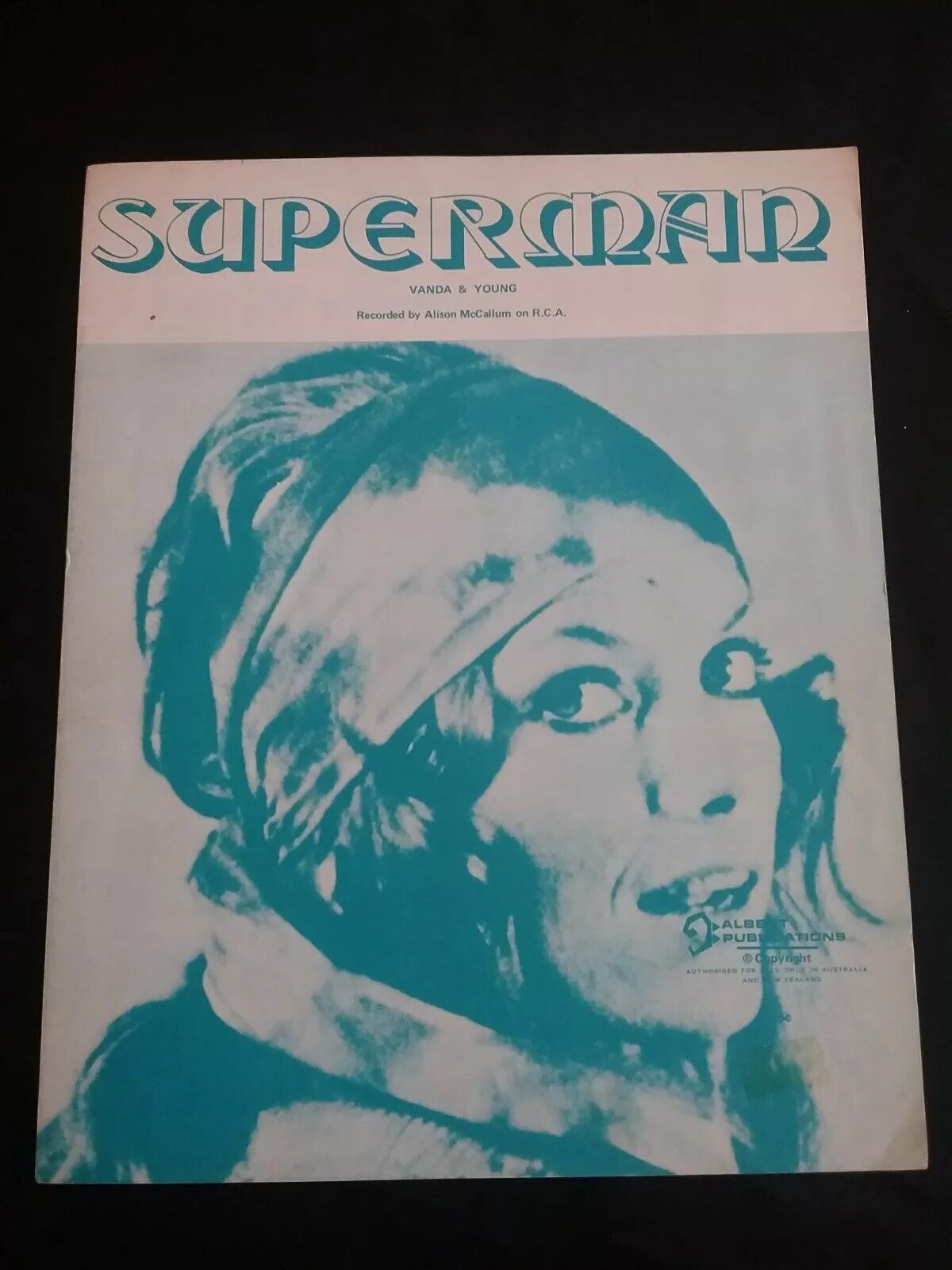 ALISON McCALLUM SUPERMAN SHEET MUSIC ALBERT PRODUCTIONS AUSTRALIA VANDA & YOUNG