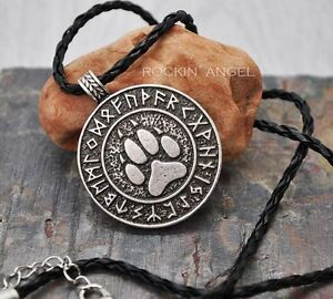 Antique-Silver-Plt-Rune-Wolf-Paw-Pendant-Necklace-Ladies-Mens-Gift-Viking-Norse