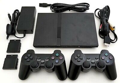 2 Wireless Controllers Sony Ps2 Slim Game System Gaming Console Playstation 2 Ebay