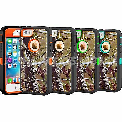 For Apple iPhone 5C 5 5S TPU Camo Hybrid Shockproof Armor Rugged Hard Case Cover