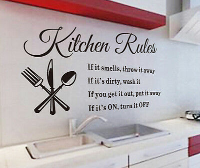 Kitchen Rules DIY Words Wall Stickers Home Decor Vinyl Art Mural Decal Removable