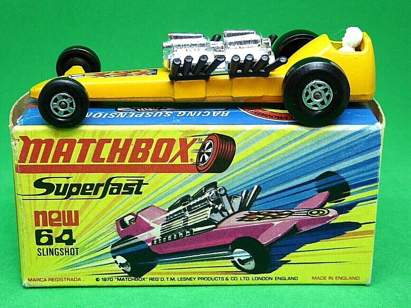 Matchbox Lesney No.64c Slingshot Dragster H1 'New' Box (VERY RARE LIGHT orange)
