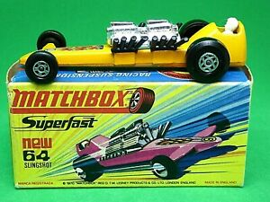 Matchbox-Lesney-No-64c-Slingshot-Dragster-H1-034-NUEVO-034-caja-muy-rara-luz-naranja