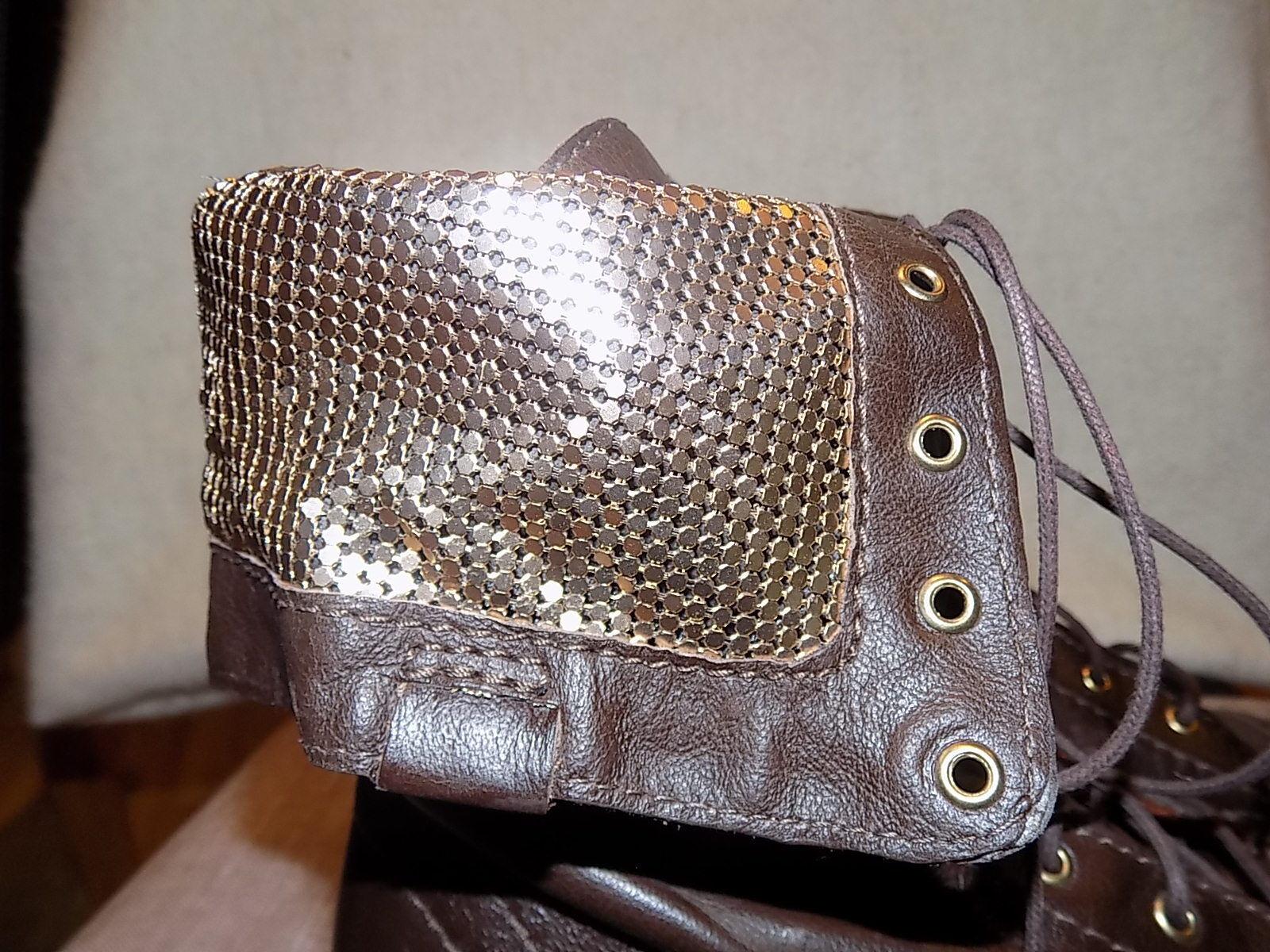 SCHUTZ combat Stiefel  Größe 7 Braun/gold details details Braun/gold Leder lace up brand new fa2962
