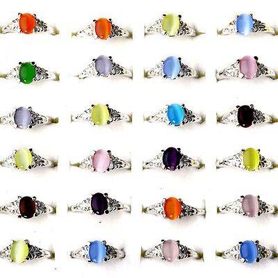 50//30Pcs Wholesale Jewelry Bulk Mixed Silver Plated Fashion Rhinestone Rings Hot