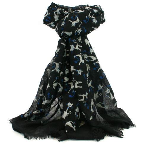 Léger Sacile Noir Avec Blanc Chats écharpe Châle Wrap Femme Foulards