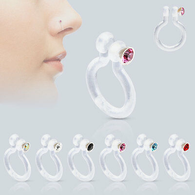 Fake Bioflex Non-Piercing Clip-On Nose Ring With CZ Gem