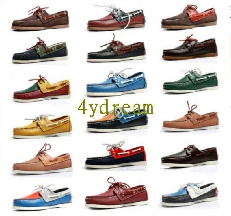 Hot Casual Men Moccasin Docksides deck Top-Side Lace Up Leather Boat shoes 38-46