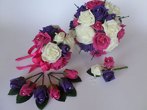 Image Is Loading Wedding Bouquet Bundle With Ivory Hot Pink And