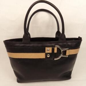 Image Is Loading Jane Shilton Black Cream Leather Handbag Bag Double