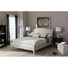 Fannie French Classic Modern Style Beige Linen Fabric King Size Platform Bed