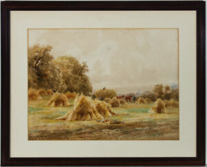 Henry-H-Parker-1858-1930-Early-20th-Century-Watercolour-A-Surrey-Cornfield