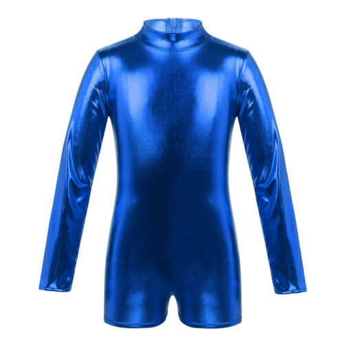 Kid Girl Gymnastics Ballet Dance Long Sleeve Leotard Metallic Jumpsuit Dancewear
