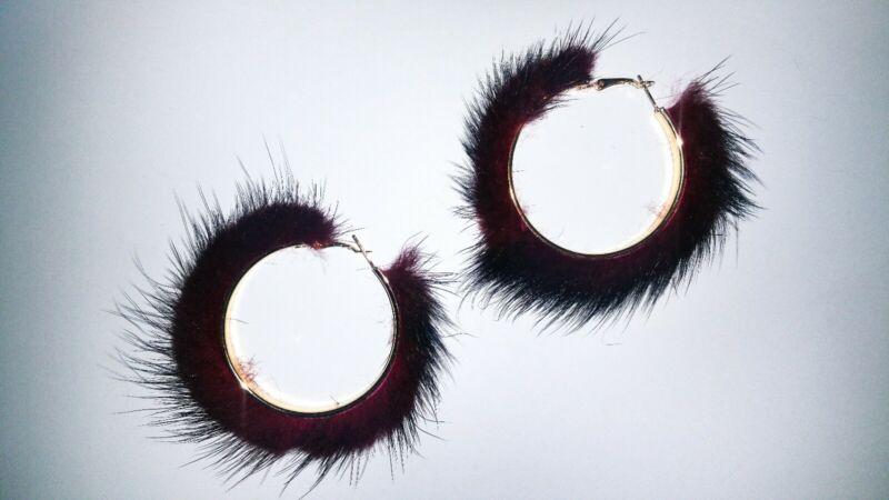 Fur Hoop Earrings Burgundy