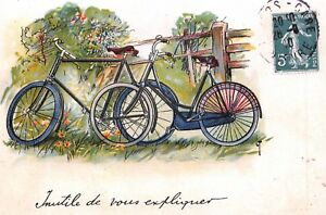 Postcard-French-Vintage-Style-Art-Bicycles-Country-Carte-Postale-France-74L